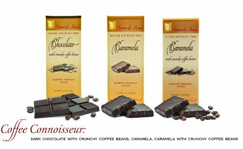 COFFEE-CONNOISSEUR-Case-of-15-Luxury-Dark-Chocolate-Caramela-bars-Vegan-Free-of-Gluten-Peanuts-Tree-Nuts-Milk-Soy-All-Natural-Allergen-Diabetic-Friendly-0